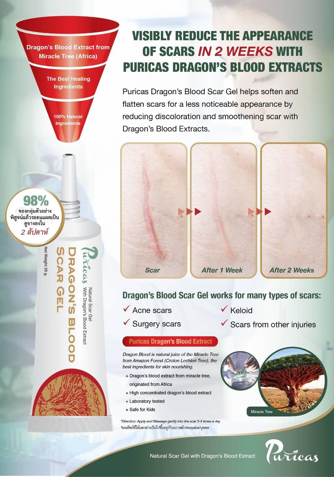 Puricas Dragon's BloodScar Gel เป็นเจลรักษาแผลเป็น